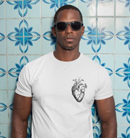 Camiseta H Blanca Corazón Negro