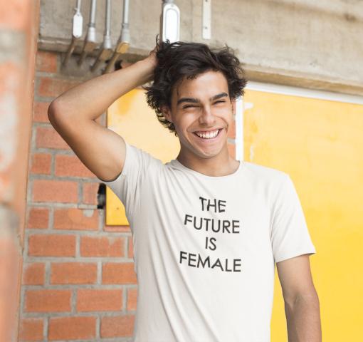 Camiseta H Blanca c/n FUTURE IS FEMALE Negro