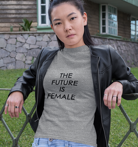 Camiseta M Gris jasp. FUTURE IS FEMALE Negro