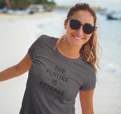 Camiseta M Gris pizarra FUTURE IS FEMALE Negro