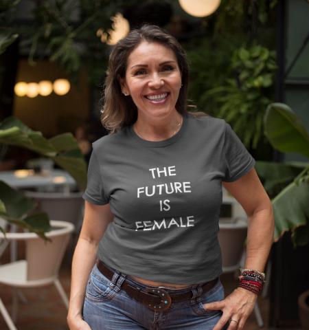 Camiseta M Gris FUTURE IS FEMALE Blanco