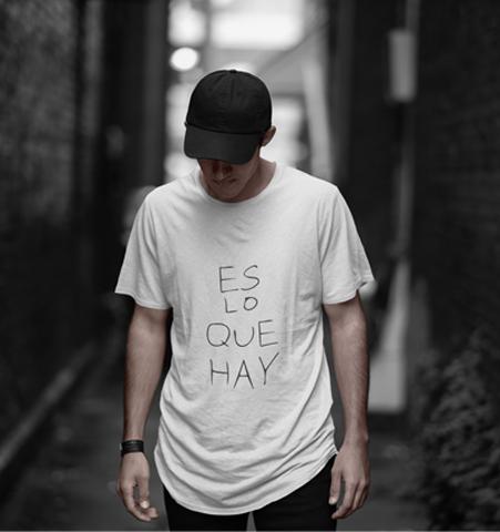 Camiseta H Blanca ES LO QUE HAY Negro