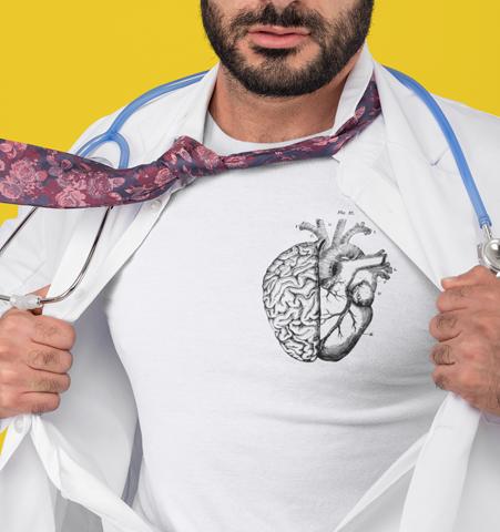 Camiseta H Blanca Heart/Brain Negro