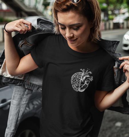 Camiseta M Negra Heart/Brain Blanco