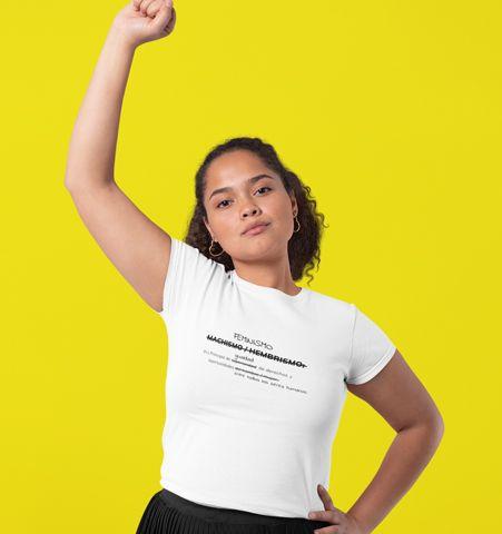 Camiseta M Blanca Feminista Negro