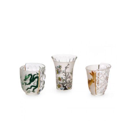 Seletti Set x3 Vasos en Vidrio Hybrid