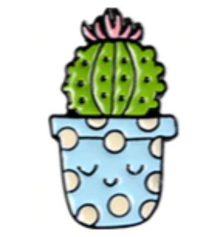 Pin Cactus Maceta Celeste Lunares Blancos