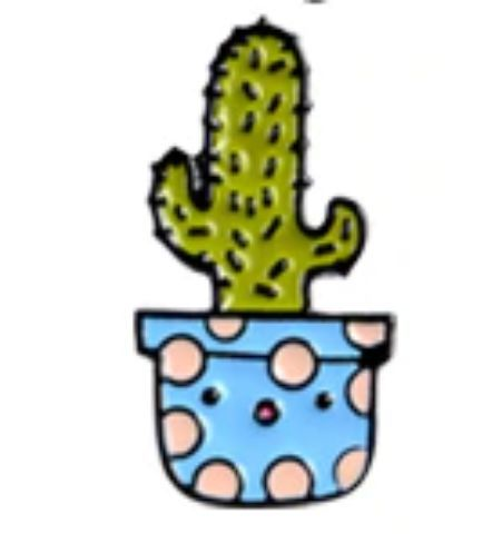 Pin Cactus Maceta Celeste Lunares Rosa