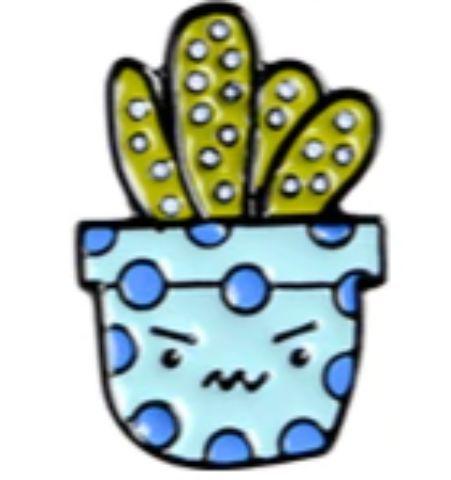 Pin Cactus Maceta Celeste Lunares Azules