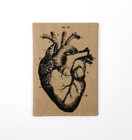 Porta pasaporte HEART Kraft/Negro